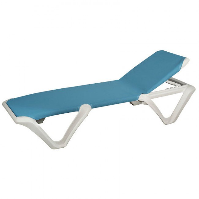 Шезлонг Eva Pro White Blue (3100WB) купити на сайті Shezlongi.Com.UA • Пластикові шезлонги Balliu