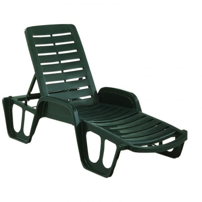 Пляжний лежак Fisso Dark Green (47000) купити на сайті Shezlongi.Com.UA • Пластикові шезлонги Garden4You