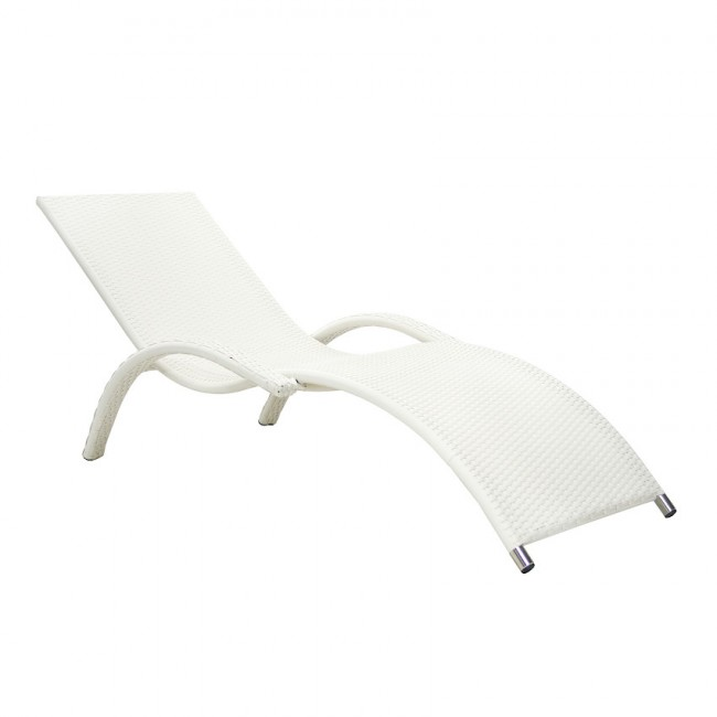 Ротанговий лежак Meridian White (13193) купити на сайті Shezlongi.Com.UA • Шезлонги зі штучного ротангу Garden4You